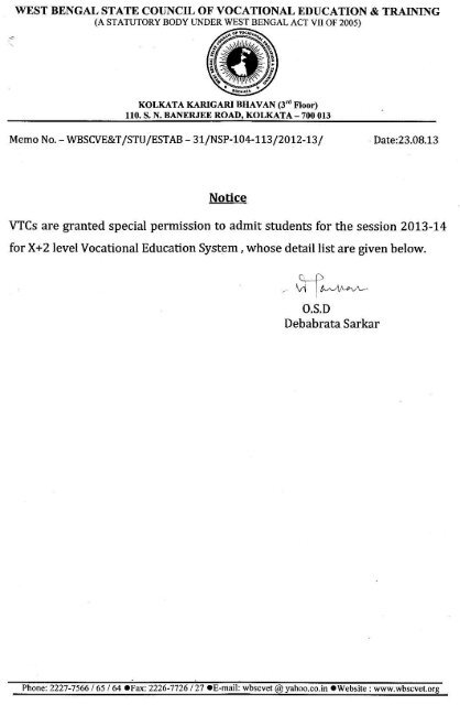 west bengal state council of vocational education & training - wbscvet