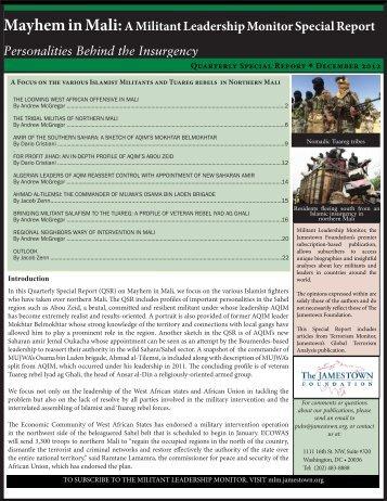 Mayhem in Mali:A Militant Leadership Monitor Special Report