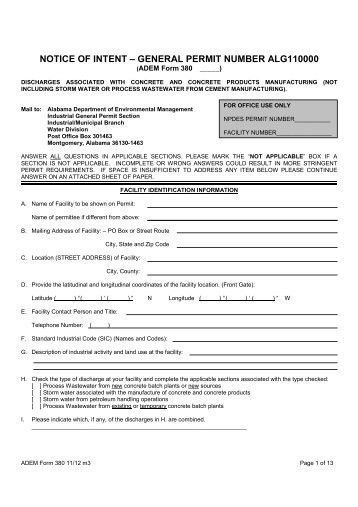 General Permit Application Package - NOI-11 - Alabama ...