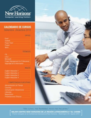 calendario de cursos - New Horizons Computer Learning Centers