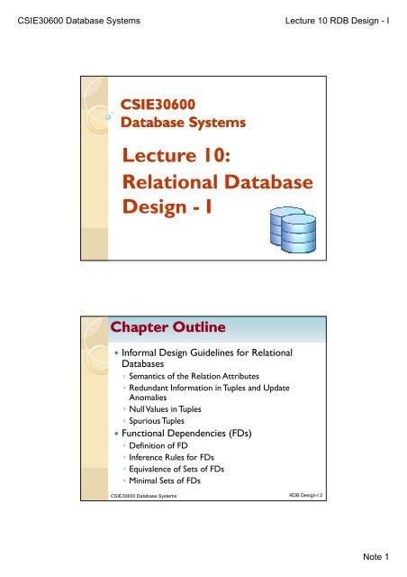 Lecture 10 Relational Database I Design I
