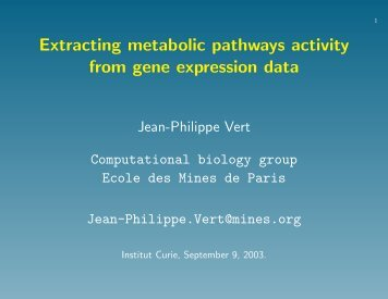 Extracting metabolic pathways activity from gene expression data ...