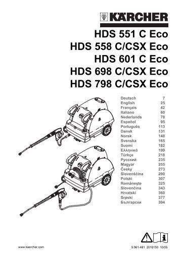 HDS 551 C Eco HDS 558 C/CSX Eco HDS 601 C Eco HDS 698 C ...