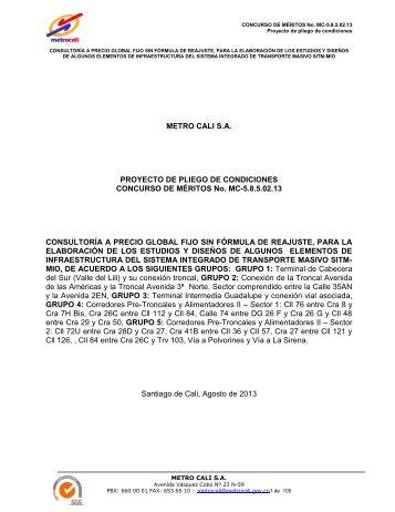 Proyecto de Pliegos de Condiciones - Metrocali