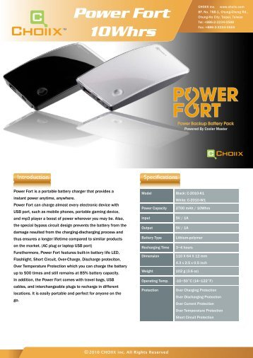 power bank product sheet 0511.pdf - Cooler Master