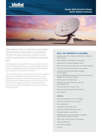 Model 8118 16.0/18.3 Meter Earth Station Antenna