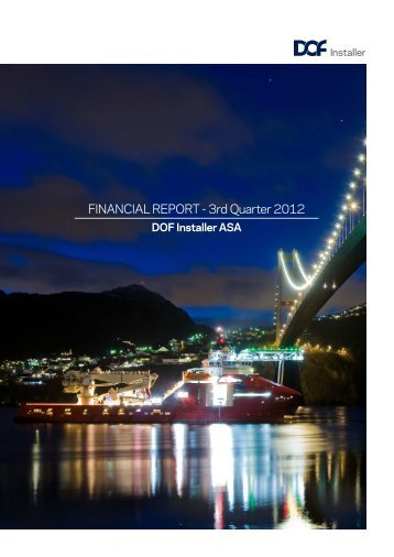 FINANCIAL REPORT - 3rd Quarter 2012