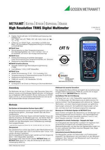 EBASE High Resolution TRMS Digital Multimeter - Gossen-Metrawatt