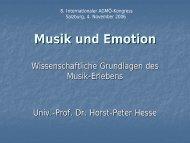 Musik und Emotion - Horst-Peter Hesse