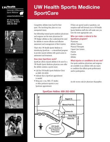 SportCare Brochure (pdf) - UW Health