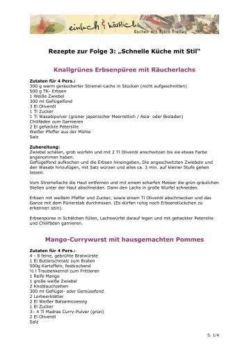 ihre schnell-rezepte aus dem gästebuch als pdf - wdr.de - Schnelle Küche Warm