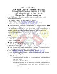 Jelly Bean Classic Tournament Rules - USSSA of Colorado
