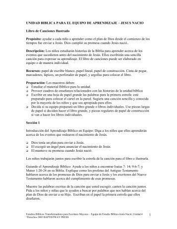 UNIDAD BIBLICA PARA EL EQUIPO DE ... - BaptistWay Press