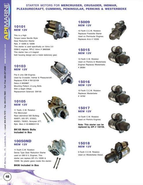 starter motors for - API Marine
