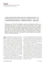 Laboratoriotutkimukset psykoosien ja mielialahäiriöiden ... - Duodecim