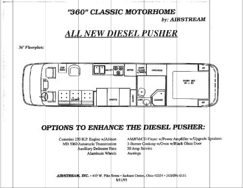 360 Classic Motorhome Specifications