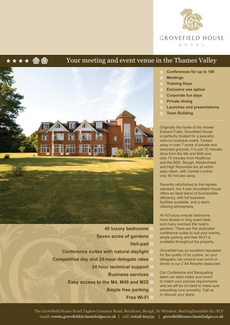 Download a pdf of our events brochure here  - Classic Lodges