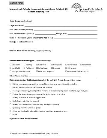 Harrassment Intimidation  Bullying Incident Report Form