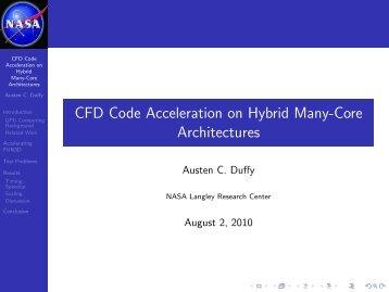 CFD Code Acceleration on Hybrid Many-Core Architectures - NASA