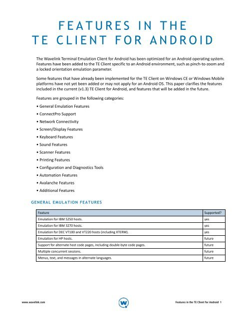 FEATURES IN THE TE CLIENT FOR ANDROID - Wavelink