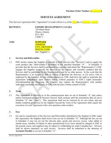 Services Agreement   Sample   Export Development Canada (EDC)  Export Agreement Sample