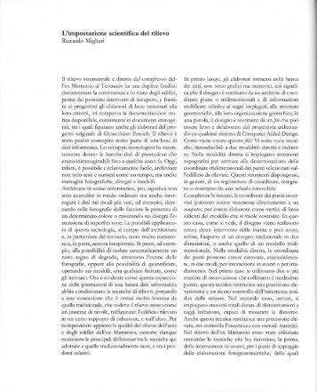 L'impostazione scientifica del rilievo - Riccardo Migliari