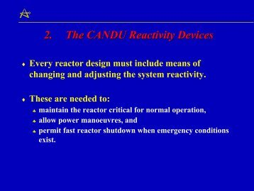 2. The CANDU Reactivity Devices