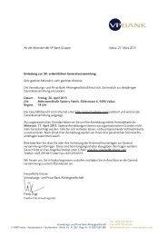 An die Aktionäre der VP Bank Gruppe Vaduz, 27. März 2013 ...