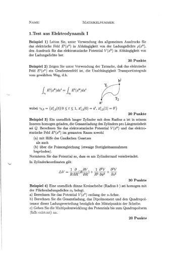 194168ubungsaufgaben zur elektrodynamik blatt 1
