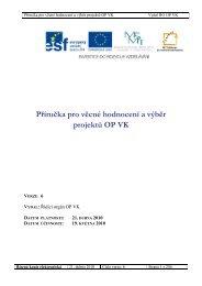 Příručka pro věcné hodnocení a výběr projektů OP VK