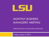 monthly business managers' meeting - Finance and Administrative ...