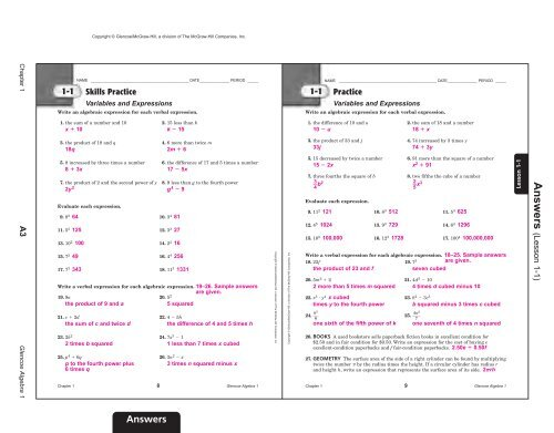 glencoe homework practice workbook algebra 2 answers