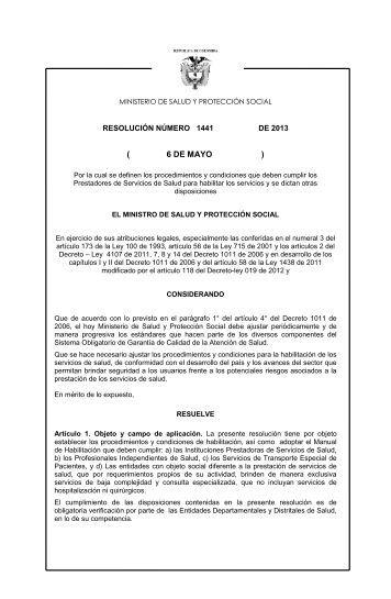 Resolución 1441 de 2013