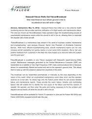 Dassault Falcon Rolls Out FalconBroadcast New ... - Dassault Aviation