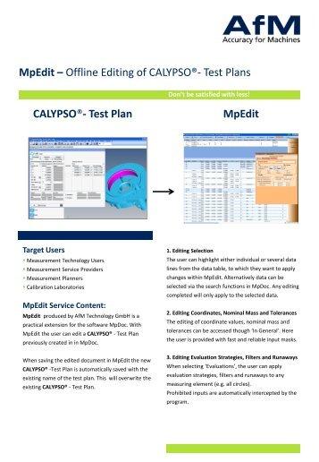 MpEdit - Offline Editing of CALYPSO®- Test Plans - Afm-tec.com
