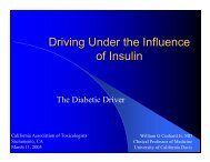 Driving Under the Influence of Insulin - California Association of ...