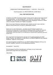 NACHTSCHICHT LANGE NACHT DER ... - DMY Berlin