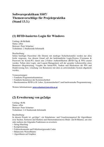 Softwarepraktikum SS07 - Universität Klagenfurt