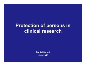 Protection of persons in clinical research - FDIME