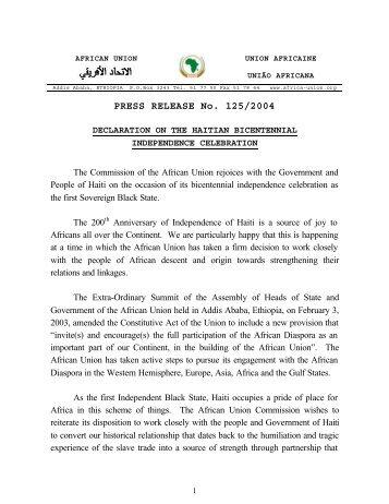 Declaration of Haiti celebration - African Union