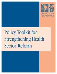 Policy Toolkit for Strengthening Health Sector Reform