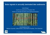 Solar signals in annually laminated lake sediments