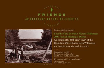 Friends of the Boundary Waters Wilderness 2009 Annual Meeting ...