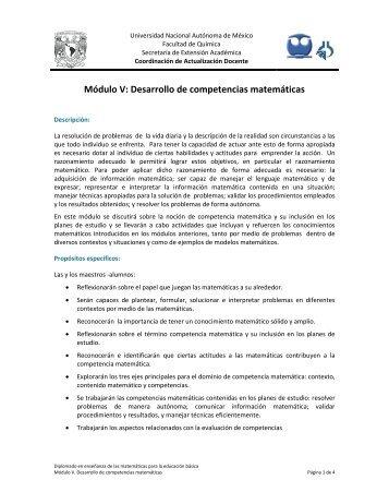 Módulo V: Desarrollo de competencias matemáticas - Coordinación ...