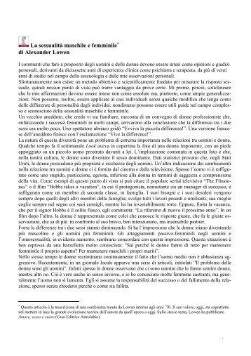 La sessualità maschile e femminile di Alexander Lowen - In quiete