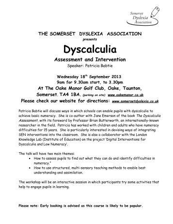 Dyscalculia - Somerset Dyslexia Association