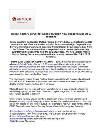 Output Factory Server for Adobe InDesign Now Supports Mac OS X Yosemite