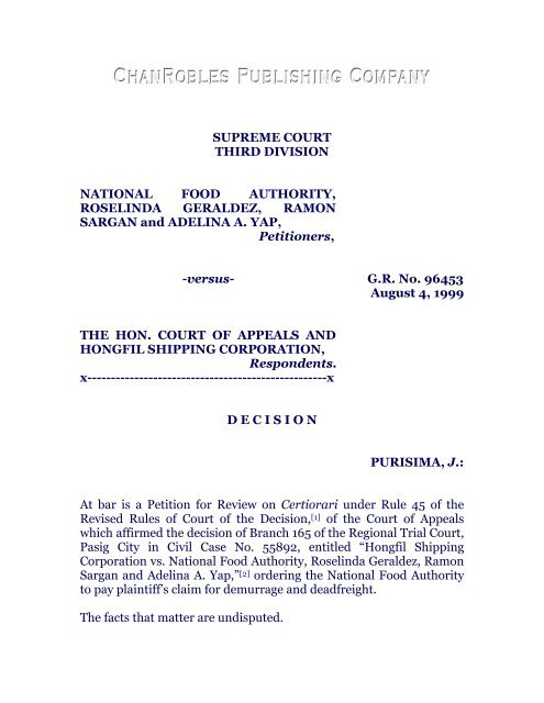 National Food Authority vs  CA, 311 SCRA 700 - Chan Robles and