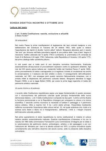 SCHEDA DIDATTICA INCONTRO 3 OTTOBRE 2012 Lettura del testo