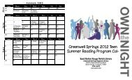 Greenwell Springs 2012 Teen Summer Reading Program Cal-